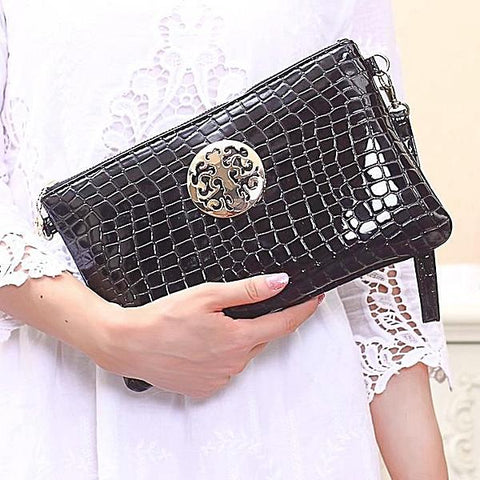Evening Day Black Crocodile Clutch With Golden Button - Last Chance - SilkRoads Online