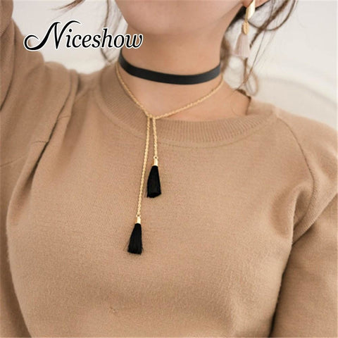 Gothic Style Black Pu Leather Long Chain Tassel Charm Necklace Grunge Style Statement Necklace - SilkRoads Online