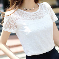 White Elegant Lace Chiffon Top Summer Short Sleeve Blouse in Regular and generous Sizes - SilkRoads Online
