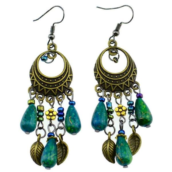 Etinic Antique Bronze Beaded Vintage Earrings