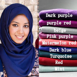 21 color High quality jersey cotton plain elasticity shawls hijab wrap - SilkRoads Online