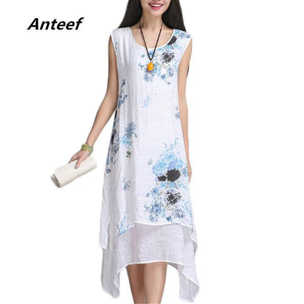 Free Shipping -New summer style cotton linen print casual loose dress on a hot day