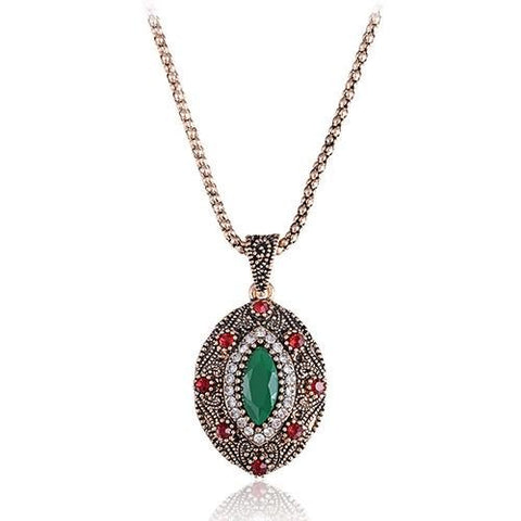 Turkish African Ethnic Jewelry Femme Eye Crystal Turquoise Retro Gold Choker Necklace Pendant Chain Link Collier Bijoux - SilkRoads Online