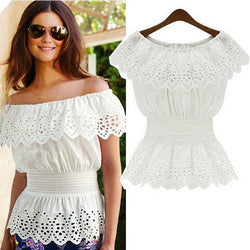 Sexy Slash Neck Casual Strap Off Shoulder Lace Ruffles Elastic Waist  Blouse - SilkRoads Online