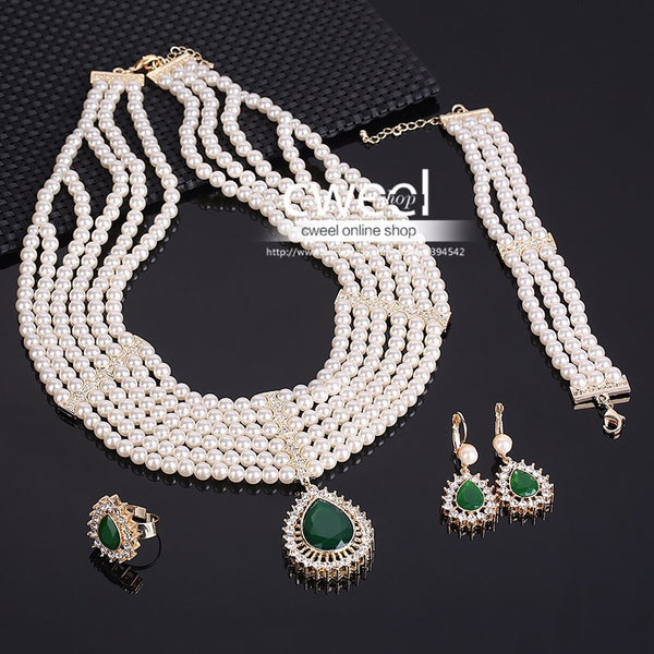 Free Shipping - New Wedding Style Gold Plated Imitated Crystal African Beads Jewelry Set