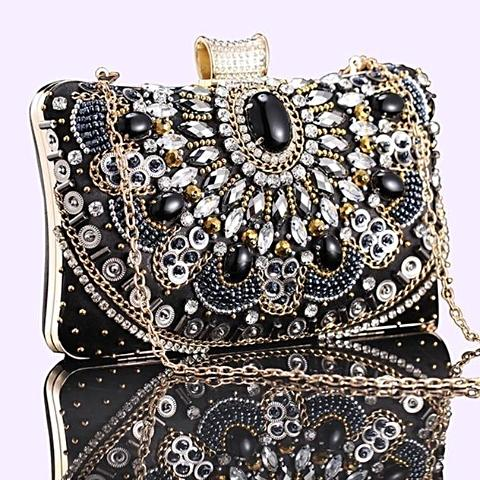 New Handmade Luxury Crystal Diamond Square Clutch Bag - SilkRoads Online