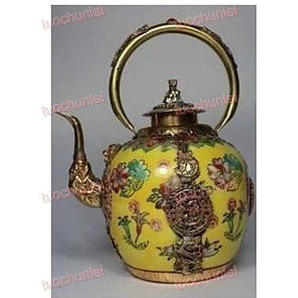Collectibles Tibet Carved Dragon Kylin Lid Porcelain Teapot - SilkRoads Online