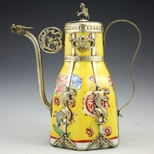 Exquisite Antique Porcelain Teapot  Inlaid with Tibetan Silver - SilkRoads Online