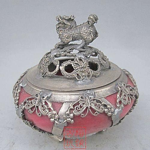Exquisite Chinese Antique Tibetan Silver Kylin Statue Inlaid Red Jade SilkRoads Online