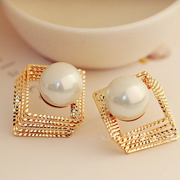 New Design Gold Silver Hollow Square Multi-layer Stud Pearl Earring