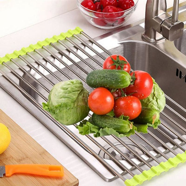 Stainless steel folding dish drainer Dryer For Fruit Vegetables - SilkRoads Online