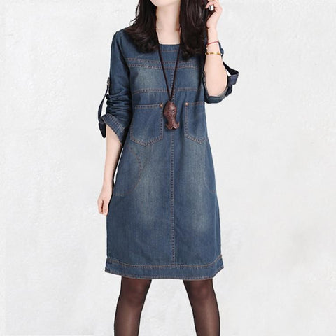 Spring summer long-sleeve vintage denim dress casual loose fashion - SilkRoads Online