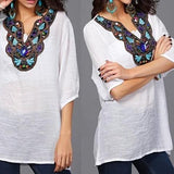 Cool Fabric Casual Summer Printed Blouse - SilkRoads Online
