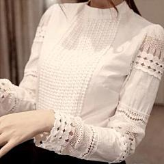 Summer Elegant Soft Look Long Sleeve White Lace Tops For Evening And Days - SilkRoads Online