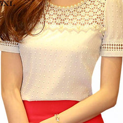 3D Lace Chiffon Blouse Summer Korean Casual Beading  in Regular and generous sizes - SilkRoads Online
