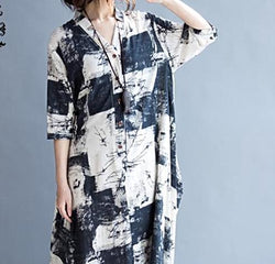 Free Shipping - New Linen Long  Summer Vintage O-Neck Pattern Print Casual Elegant Dress