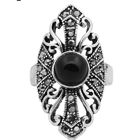 Free Shipping - Hollow Flower Black Stone Antique Silver Plated Ring