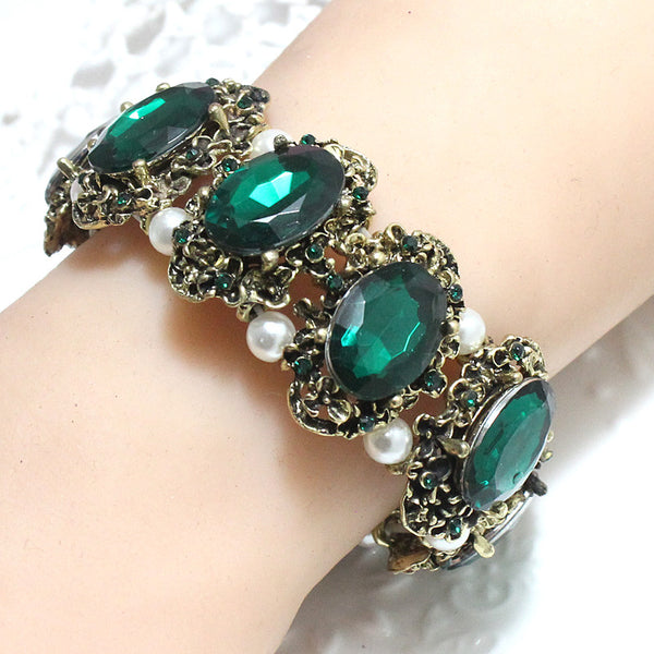 Free Shipping - Trendy Adjustable Green And Gold Plated  Vintage Bangle