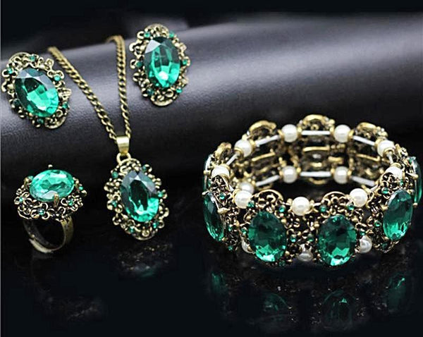 Green Crystal Antique Bronze Color Jewelry Set Includes Necklace Earrings Bracelet And Ring