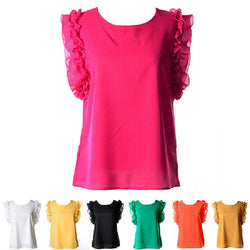 Free Shipping - Summer Chiffon Blouse O-neck Lotus Leaf Ruffles Sleeveless Casual Tops