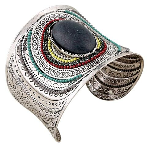 Free Shipping - Ethnic Jewelry Big Open Wide Arm Cuff Bracelets Bohemia Blue Black Stone
