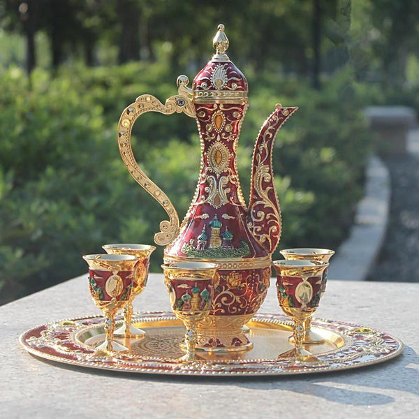 "New arrival 12"" Gold with red color metal coffee wine tea set"