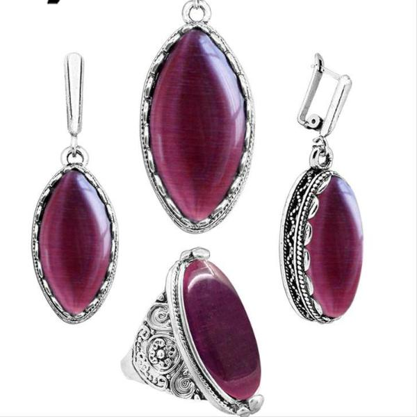 Delicate Dark Red Opal Necklace Earrings Rings Antique Silver Plated Jewelry