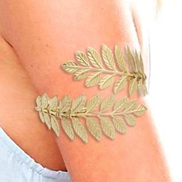 Gold Silver Greek Laurel Leaf Arm Cuff Bracelet - SilkRoads Online