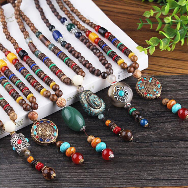 Free Shipping - Vintage Ethnic Triangle Nepal Buddhist Mala Necklace Fish Wood Beads Statement Necklaces Buddha Pendants Necklace Women men
