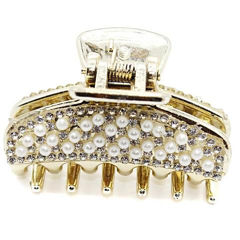 Fashion Hair Accessories Full Rhinestone Crystal Hair Claw Golden Color