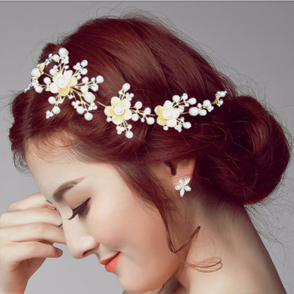 Crystal Flower Headpiece Silver Gold Color Hairbands