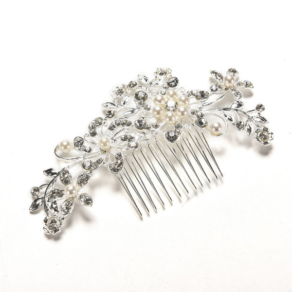 Headwear Floral Wedding Tiara Sparkling Silver Plated Crystal Simulated Pearl Bridal Hair Combs Hairpin Jewelry Hair Accessories