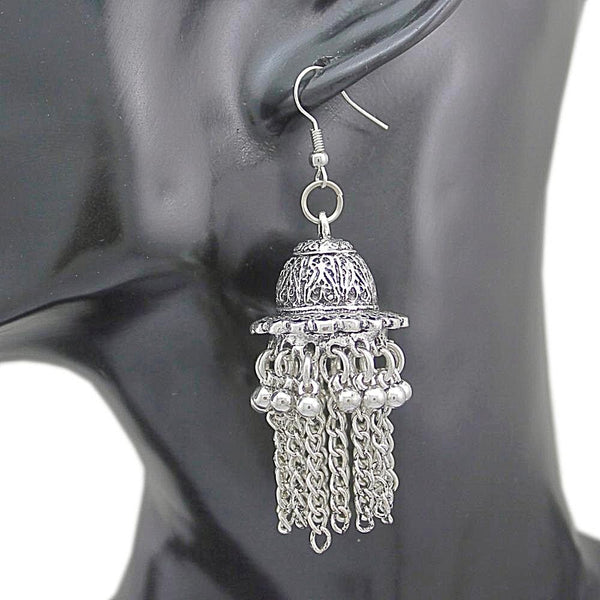 Ethnic Bali Jhumka Silver Concho Gypsy Drop Dangle Earrings