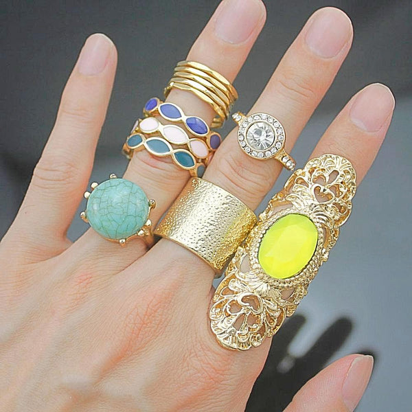 New Arrival 12x Gypsy Gold Tribal Bali Bezel-Set Rings Set For Women