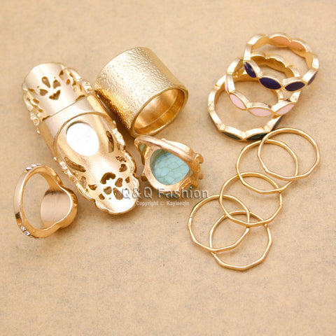 New Arrival 12x Gypsy Gold Tribal Bali BezelSet Rings Set For Women