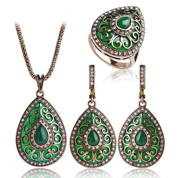 New Arrival Heart Necklace Earrings Ring Set Turkish Vintage Design