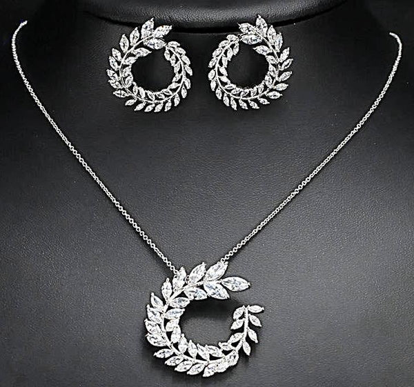 Luxury AAA olive branch shaped big stud earrings and pendant necklace set