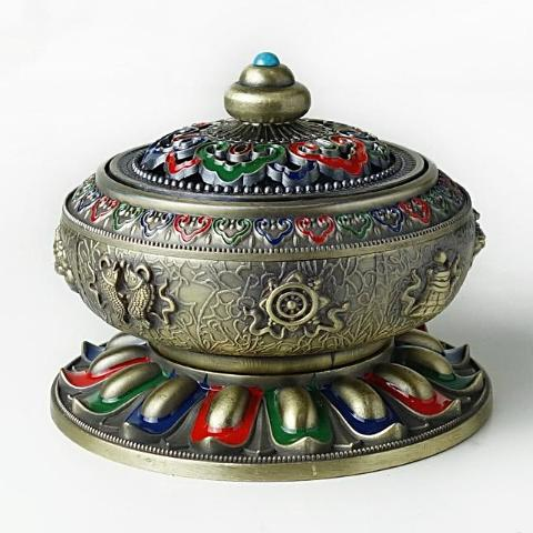 Alloy incense burner with Brass incense holder, no rust no fading,  Antique style - SilkRoads Online