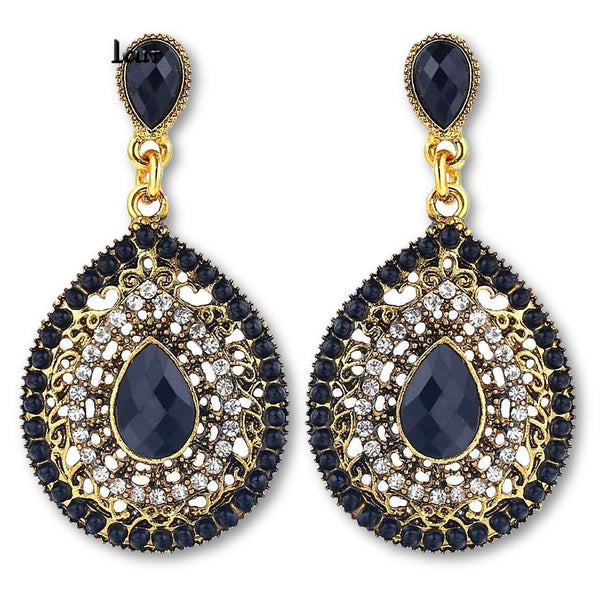 Elegant Gold Plated Long Vintage Black Water Drop Earring for Women
