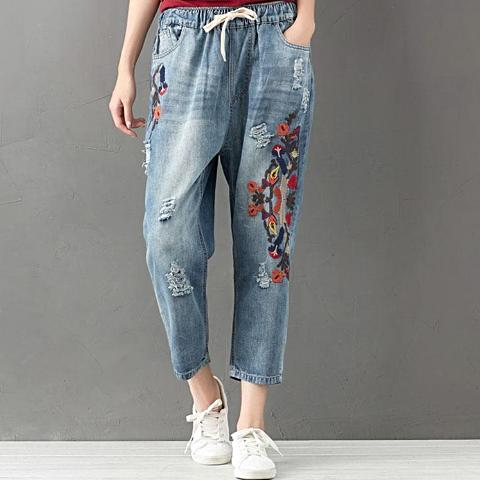 Women's Harem Jeans Floral Embroidery Elastic Style Oversize