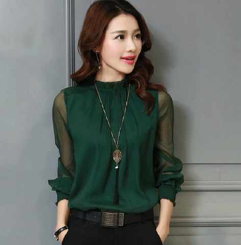 Elegant Chiffon Blouse Long Sleeve Stand Neck Day Evening Wear