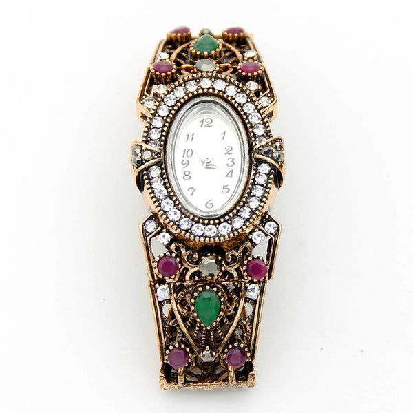 Antique Vintage Round Flower Wrist Watch  Bracelet Color Adjustable Band - SilkRoads Online