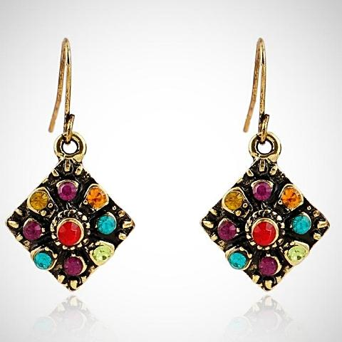 Colorful Crystal Stud Earrings for Fashion Jewelry