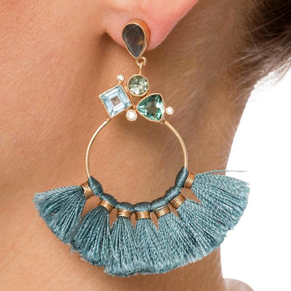 Vintage Ethnic Bohemian Style Fringe Tassel Statement Earrings