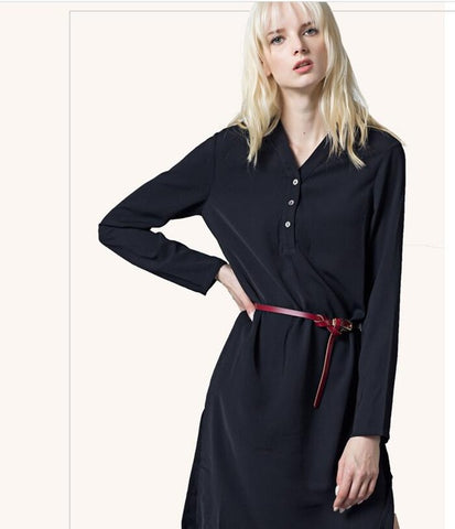 Elegant Spring Long Sleeve Slim Waist V-neck Dress - SilkRoads Online