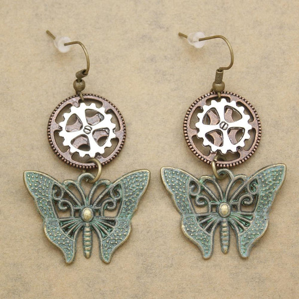 Retro Gold Silver Patina Butterfly Drop Dangle Earrings