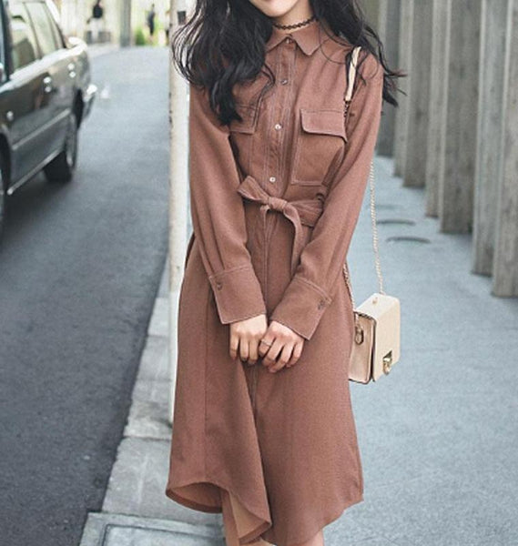 New Spring Casual Caramel Belted Long Sleeve Dress
