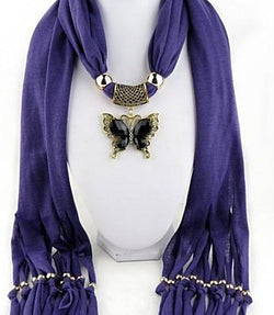 New Arrival Charms winter Scarf Necklaces tassel bead butterfly Pendant scarf Necklaces Women Scarf Necklaces Jewelry Wholesale - SilkRoads Online