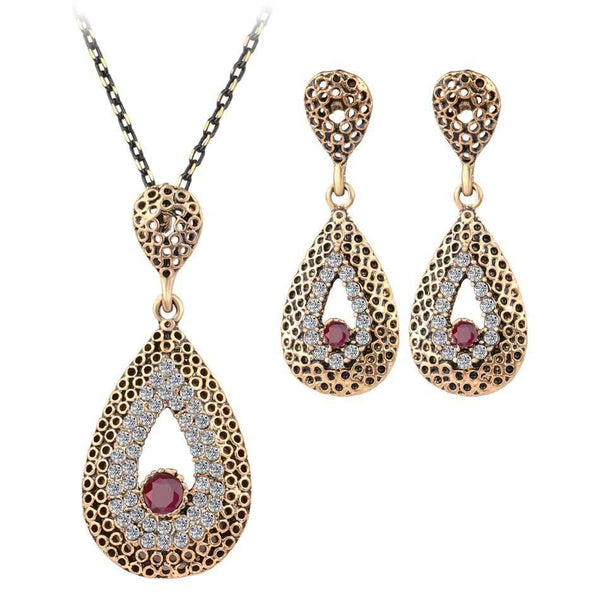 Free Shipping - Fine Vintage Turkish Gilded Nigerian Red Bead Crystal Water Drop Pendant Earrings Set