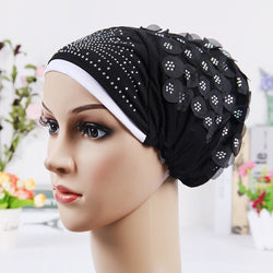 New Design Islamic Scarves Wraps Hijab caps Womens Muslim Inclusive Cap Crystal Flower Muslims Hat hijab undercaps black - SilkRoads Online